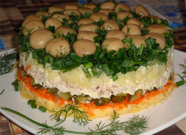 Рецепт с салата полянка