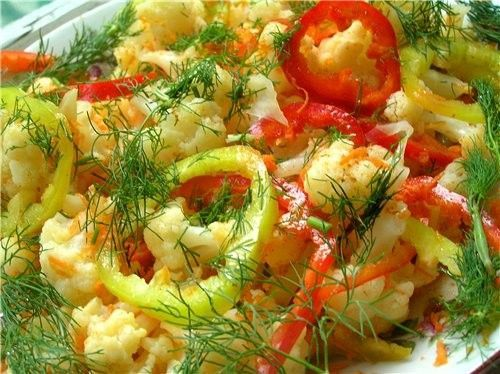 Салат из цветной капусты с перцем на зиму рецепты