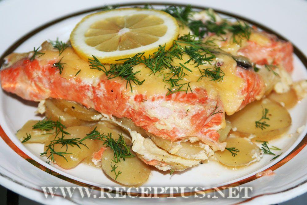Рыба красная с картошкой в духовке рецепты с фото пошагово